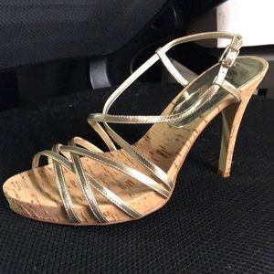 GUESS Gold strappy cork heels
